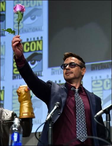 Tony Stark (Robert Downey Jr.) brought a rose to the festivities